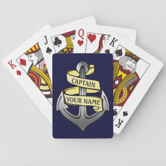 Customizable Ship Captain Your Name Anchor Playing Cards