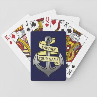Customizable Ship Captain Your Name Anchor Playing Cards
