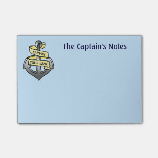 Customizable Ship Captain Your Name Anchor Post-it Notes