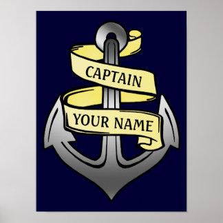 Customizable Ship Captain Your Name Anchor Poster