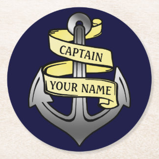 Customizable Ship Captain Your Name Anchor Round Paper Coaster