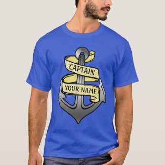 Customizable Ship Captain Your Name Anchor T-Shirt