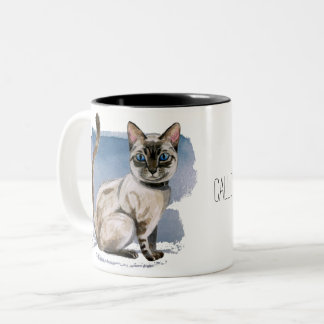 Customizable Siamese Kitten Watercolor Painting Two-Tone Coffee Mug