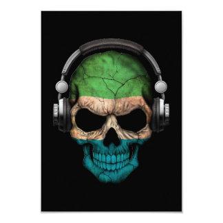 Customizable Sierra Leone Dj Skull with Headphones Card
