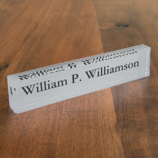 Customizable Silver Background Name Plate