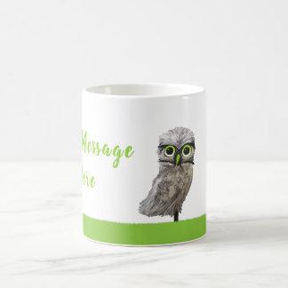 Customizable Silver Burrowing Owl Coastal Art Coffee Mug