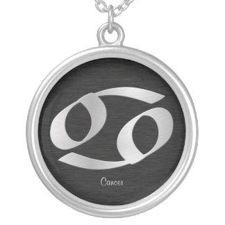 Customizable Silver Cancer Zodiac Symbol Round Pendant Necklace