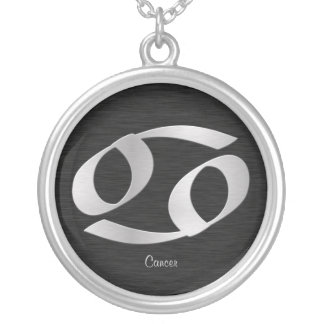 Customizable Silver Cancer Zodiac Symbol Round Pendant Necklace