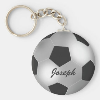 Customizable Silver Soccer Ball Basic Round Button Keychain