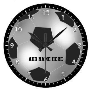 Customizable Silver Soccer Ball Clock