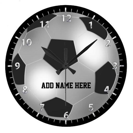 Customizable Silver Soccer Ball Round Wall Clock