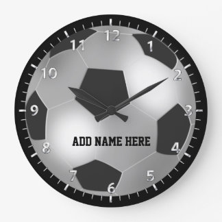 Customizable Silver Soccer Ball Round Wall Clock
