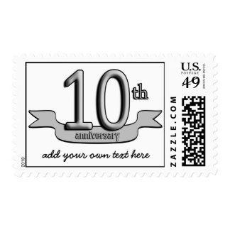 Customizable Silver Text 10th Anniversary Postage