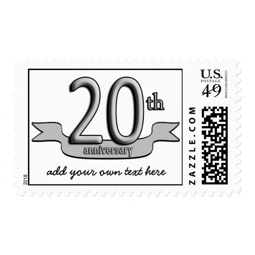 Customizable Silver Text 20th Anniversary Postage