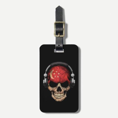 Customizable Singapore Dj Skull with Headphones Bag Tag