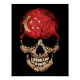 Customizable Singapore Flag Skull Posters