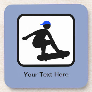 Customizable Skater on Skateboard Logo Beverage Coaster