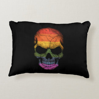 Customizable Skull with Gay Pride Rainbow Flag Accent Pillow