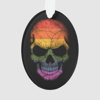 Customizable Skull with Gay Pride Rainbow Flag