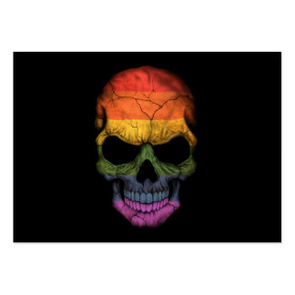 Customizable Skull with Gay Pride Rainbow Flag Business Card Templates