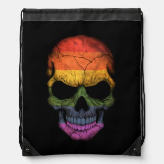 Customizable Skull with Gay Pride Rainbow Flag Drawstring Backpack