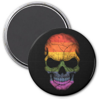 Customizable Skull with Gay Pride Rainbow Flag Magnets
