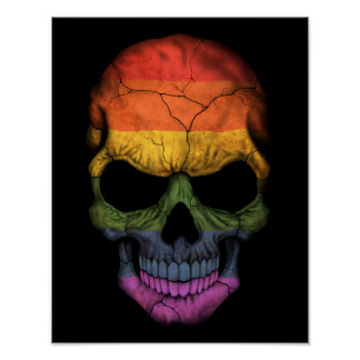 Customizable Skull with Gay Pride Rainbow Flag Poster