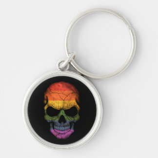 Customizable Skull with Gay Pride Rainbow Flag Silver-Colored Round Keychain