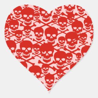 Customizable Skulls & Crossbones Heart Sticker