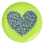 Customizable Skully Heart Dinner Plates