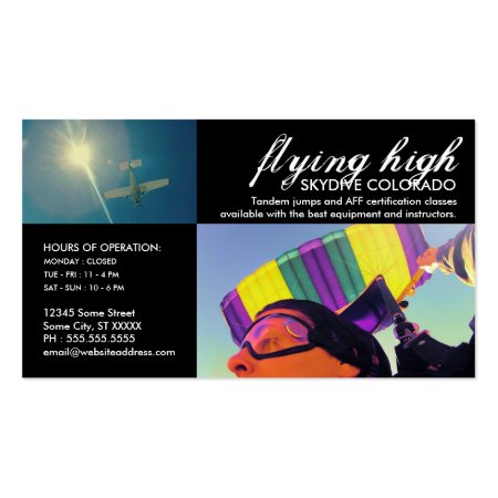 Custom Printed Colorful Skydiving Business Cards