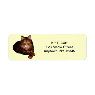 Customizable Sleeping Brown Tabby Cat Avery Label