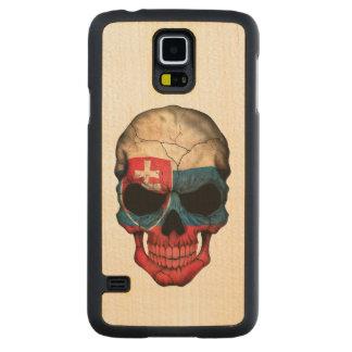 Customizable Slovakian Flag Skull Carved® Maple Galaxy S5 Slim Case