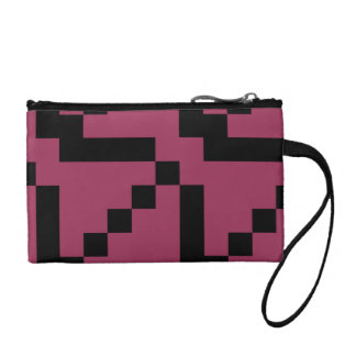 Customizable Small Black Squares on Sangria Change Purse