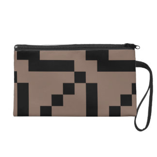 Customizable Small Black Squares on Taupe Brown Wristlet