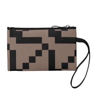 Customizable Small Black Squares on Taupe Change Purse