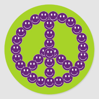 Customizable Smiley Peace Classic Round Sticker