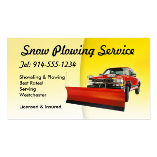 CUSTOMIZABLE Snow Plowing Yellow Double-Sided Standard Business Cards (Pack Of 100)
