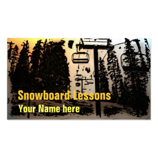 Customizable snowboard lesson business cards