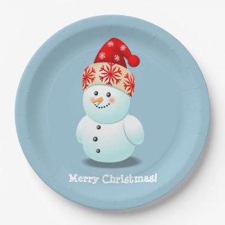 Customizable Snowman Cartoon 9 Inch Paper Plate