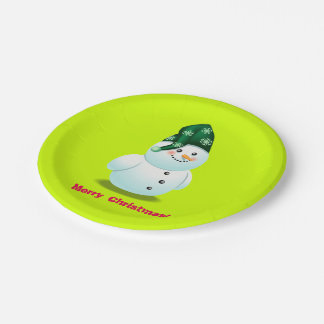 Customizable Snowman Cartoon 7 Inch Paper Plate