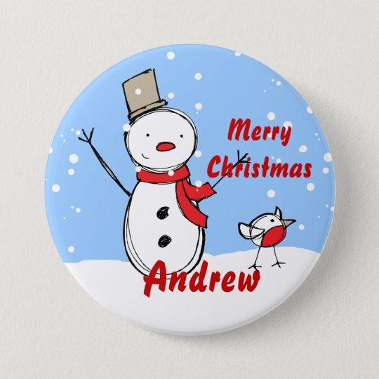 Customizable Snowman xmas party name Button badges