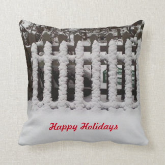 Customizable snowy picket fence throw pillow