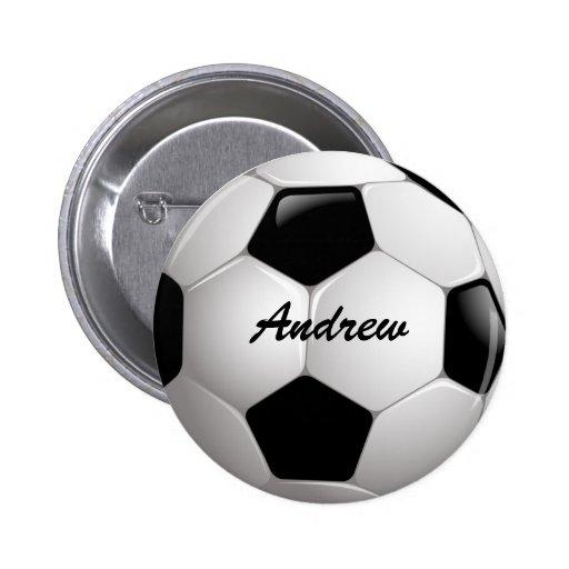 Customizable Soccer Ball Pinback Buttons