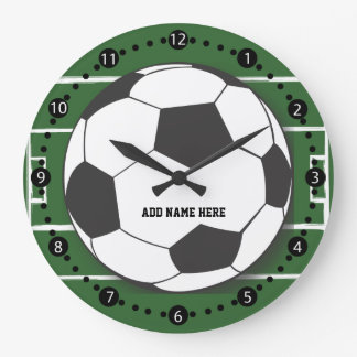 Customizable Soccer Ball on Field Large Clock