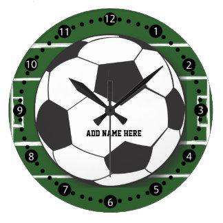 Customizable Soccer Ball on Field Large Clock