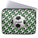 Customizable Soccer Ball on Green Laptop Sleeves