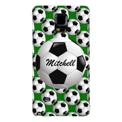 Customizable Soccer Ball Pattern on Green Galaxy Note 4 Case