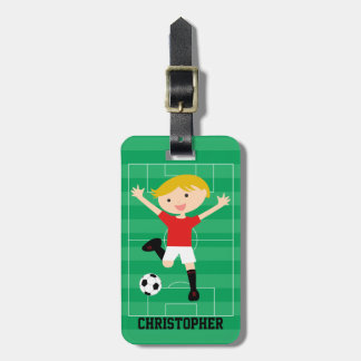 Customizable Soccer Boy 1 Red and White Bag Tag