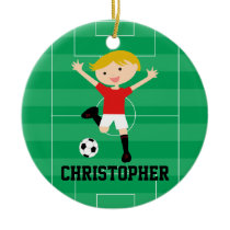 Customizable Soccer Boy 1 Red and White Ceramic Ornament